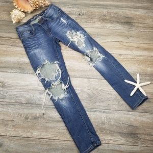 Machine distressed destroyed skinny jeans Sz 26